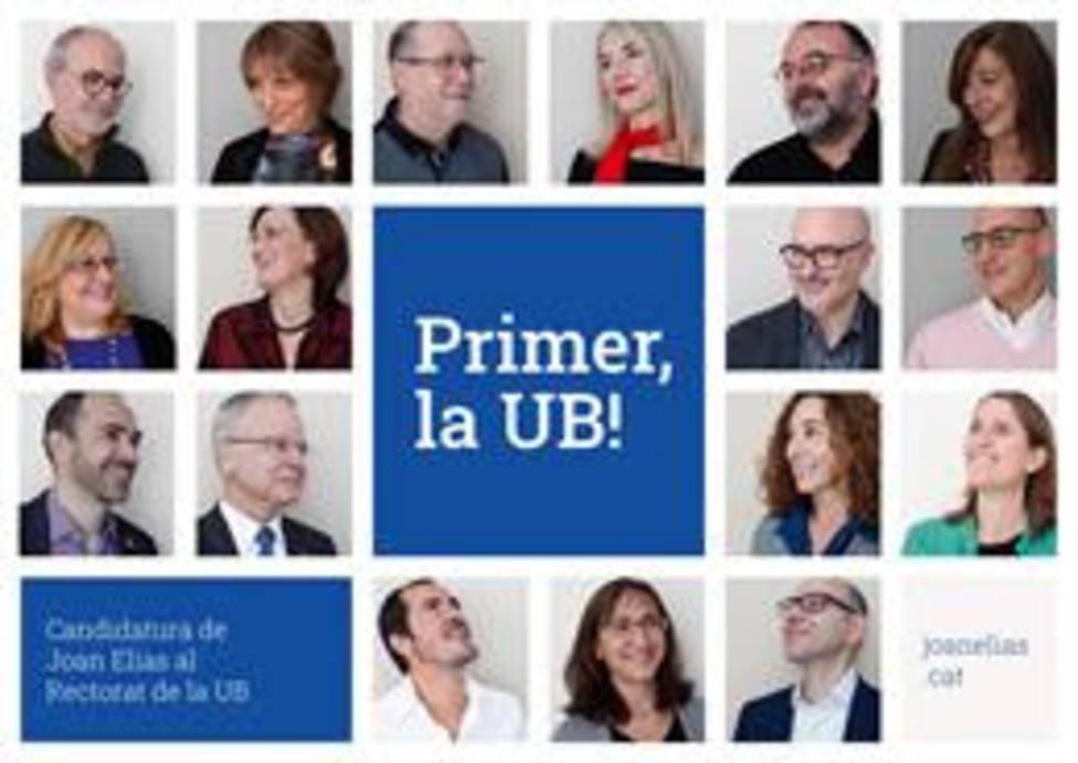 Cartel de la candidatura de Joan Elias a la reelección como rector de la Universitat de Barcelona (UB)