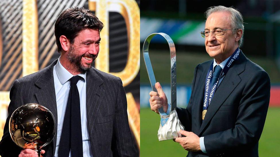 Andrea Agnelli y Florentino Pérez, presidentes de la Juventus y Real Madrid, respectivamente. CORDONPRESS