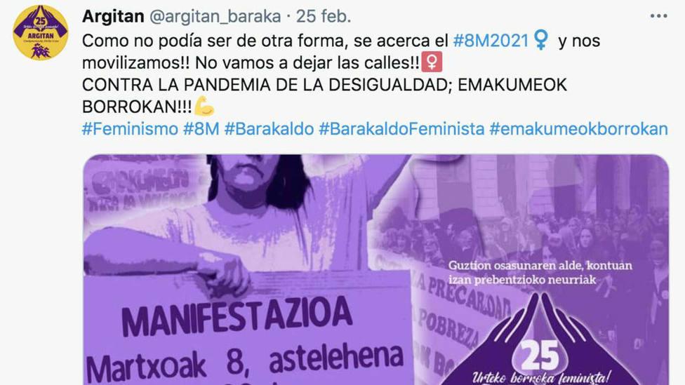 Preocupación en Euskadi ante la oleada de manifestaciones convocadas para el 8M