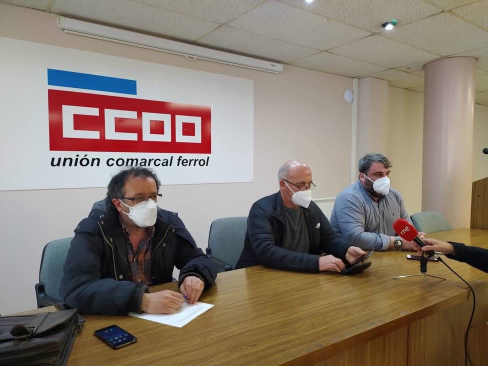 Los secretarios comarcales de CIG, CCOO y UGT en Ferrol