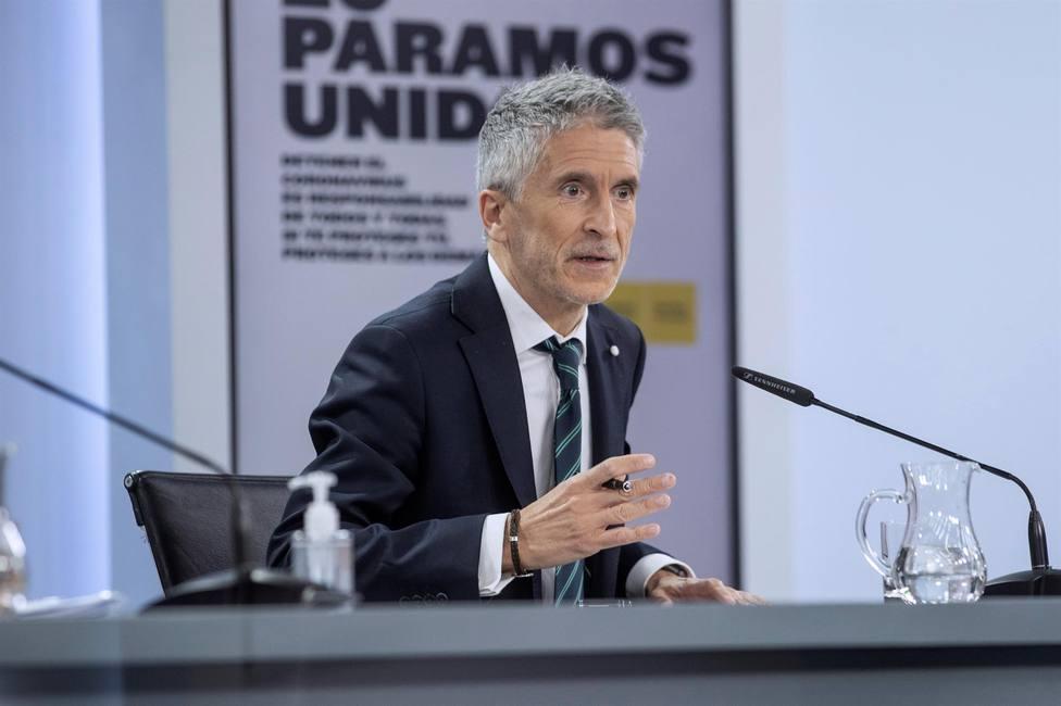 El ministro del Interior, Fernando Grande-Marlaska, durante la rueda de prensa posterior al Consejo de Ministr