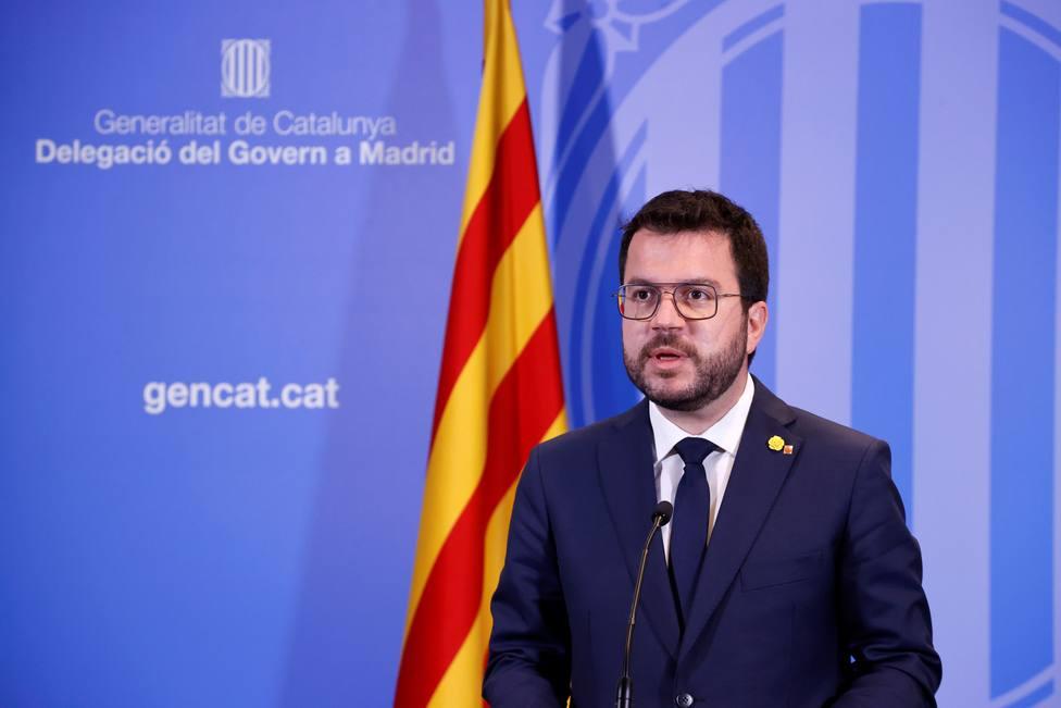 El presidente del Gobierno, Pedro Sánchez, recibe al presidente de la Generalitat, Pere Aragonès, en Moncloa