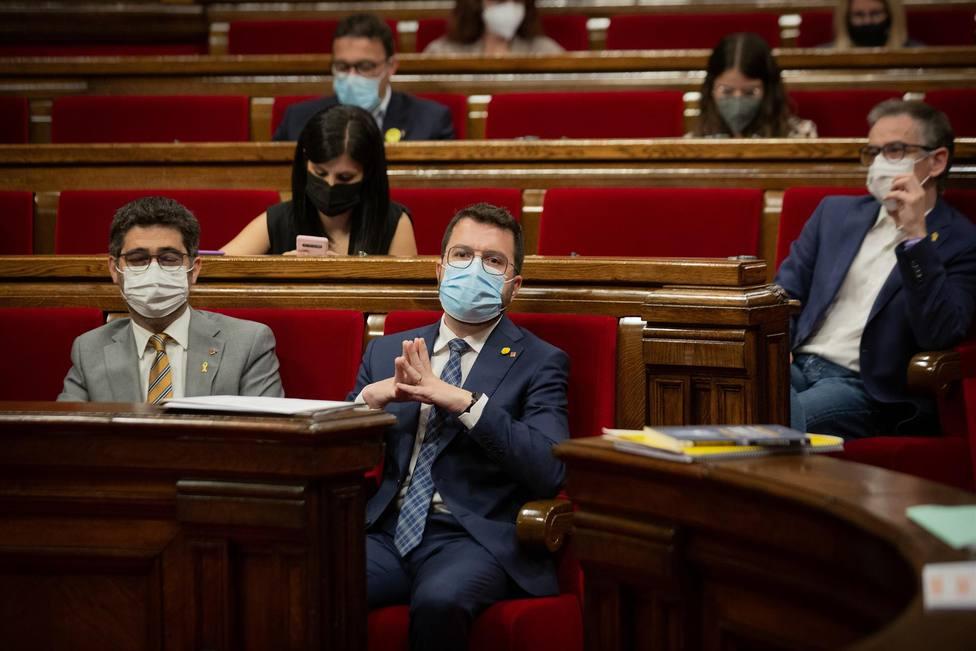 El presidente de la Generalitat, Pere Aragonès, durante la sesión de control del pleno del Parlament