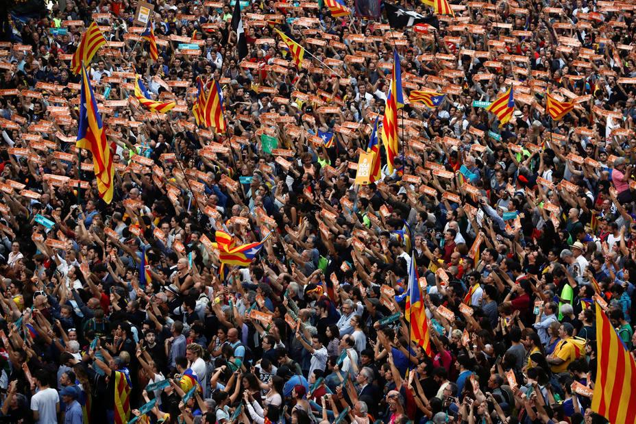 Manifestación independentista el pasado viernes en Barcelona. REUTERS