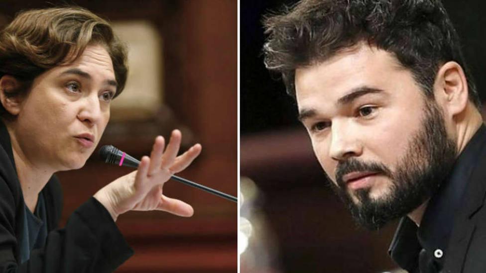 Rufián no se corta e insulta a Colau por retirar el lazo amarillo del Ayuntamiento