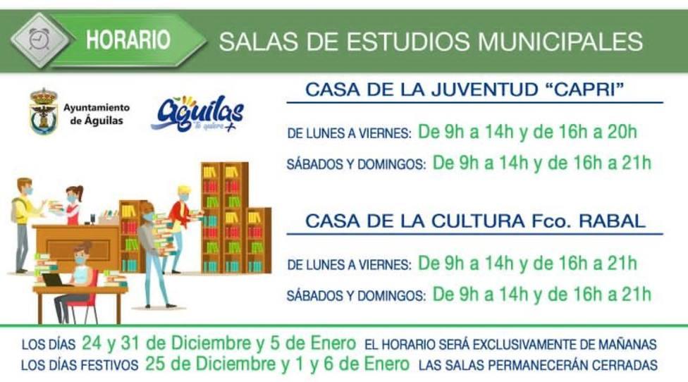 Nuevo horario de las salas de estudio de la localidad durante el periodo navideño