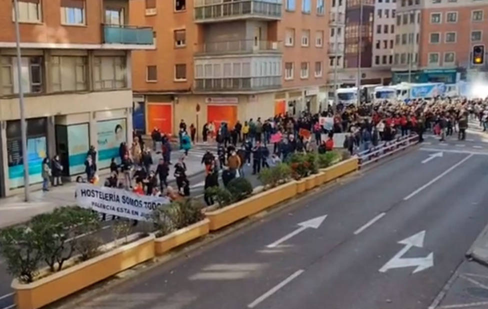 Manifestación de hosteleros en Palencia