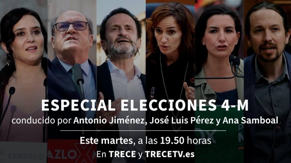 TRECE lleva el martes su plató al centro de Madrid para ofrecer la mejor cobertura de las elecciones del 4-M