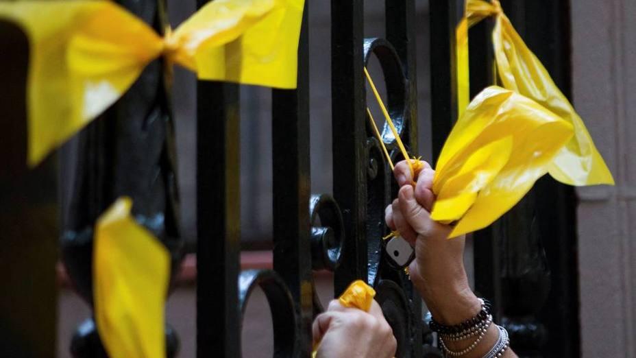 Ochenta personas desafían a los Mossos y limpian Gerona de lazos amarillos