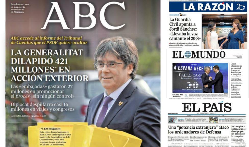 La exigencia de perdón de México a Felipe VI y al Papa, portada en la prensa del martes