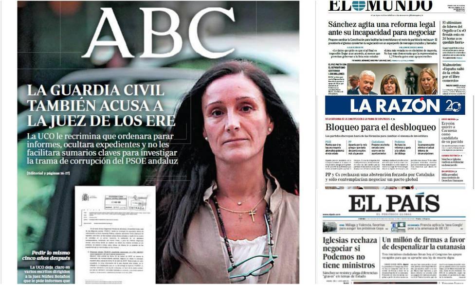Las carencias en la capacidad negociadora de Sánchez, portada en la prensa