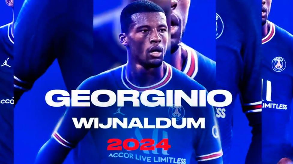 El PSG anuncia el fichaje de Wijnaldum en redes sociales