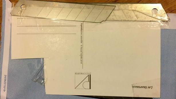 Imagen de una de las cartas con cuchillas enviadas a aficionados taurinos