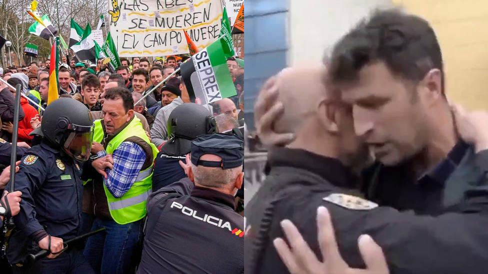 La ejemplar reacción de los agricultores de Don Benito con la Policía que cargaba contra ellos