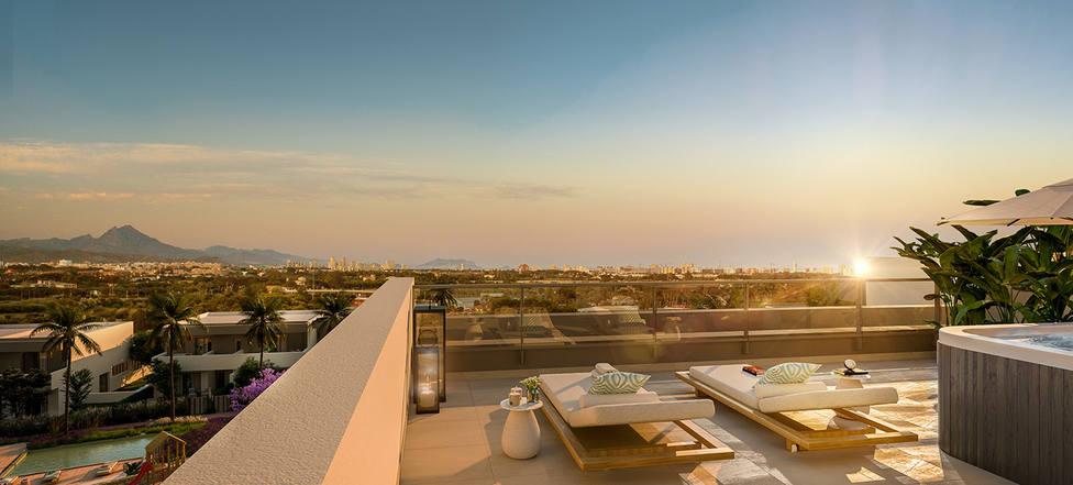 Solárium de las viviendas de la promoción Mara Views de AEDAS Homes en Alicante.