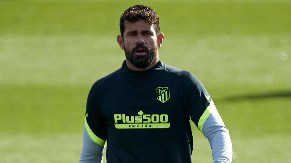 Diego Costa, en un entrenamiento con el Atlético de Madrid. CORDONPRESS
