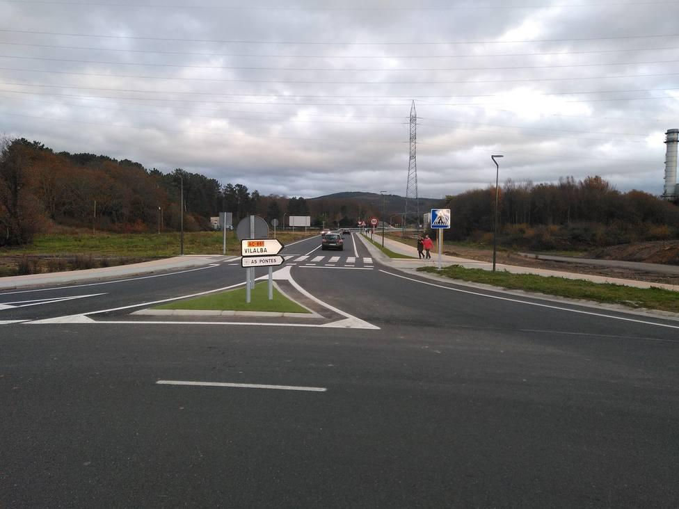 El nuevo víal en su interseción con la carretera AC-101, hacía Ortigueira - FOTO: Xunta