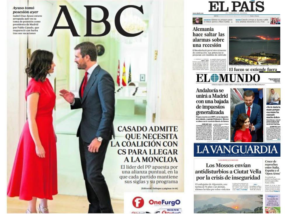 La reaparición de Casado y sus cuentas para asaltar la Moncloa, entre la prensa hoy