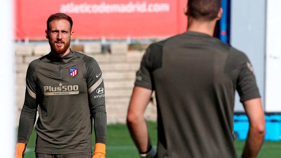 Jan Oblak, en las instalaciones de entrenamientos del Atlético de Madrid. EFE