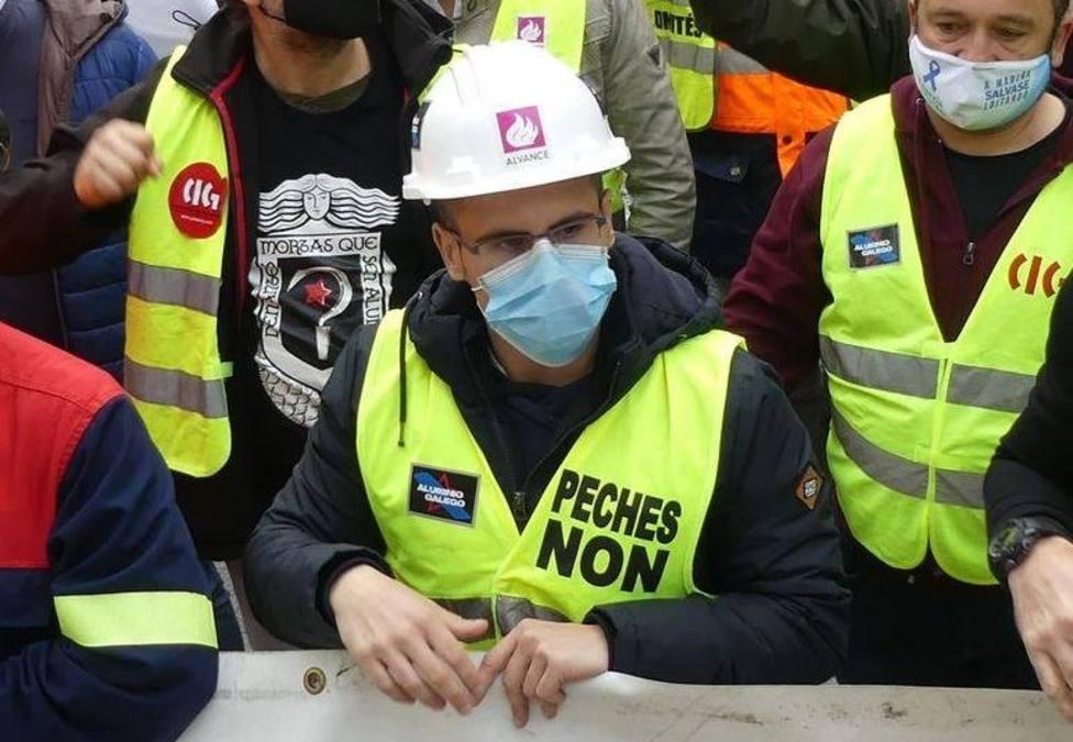 El sindicalista Kike Rocha en un acto reivindicativo de los trabajadores del complejo de Alcoa San Cibrao