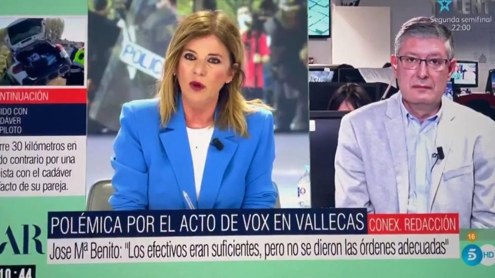 Un inspector de la Policía corta a Esther Palomera tras sus palabras sobre Abascal en Vallecas: Es evidente