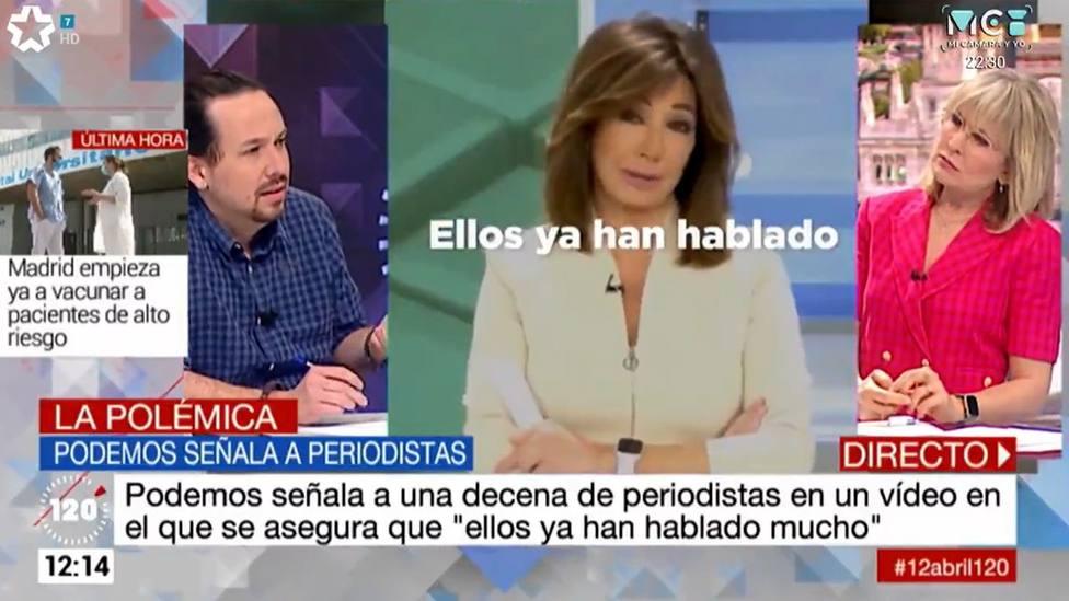 Pablo Iglesias señala a Ana Rosa y Mónica López