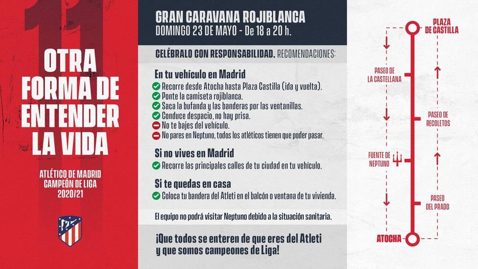 El Atlético llama a celebrar este domingo la Liga con una caravana rojiblanca en coche por Madrid