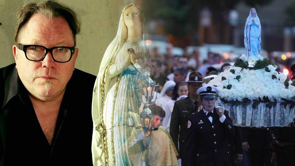 Kevin Matthews junto a la Virgen Rota e imagen de la procesión del 31 de mayo   Broken Mary