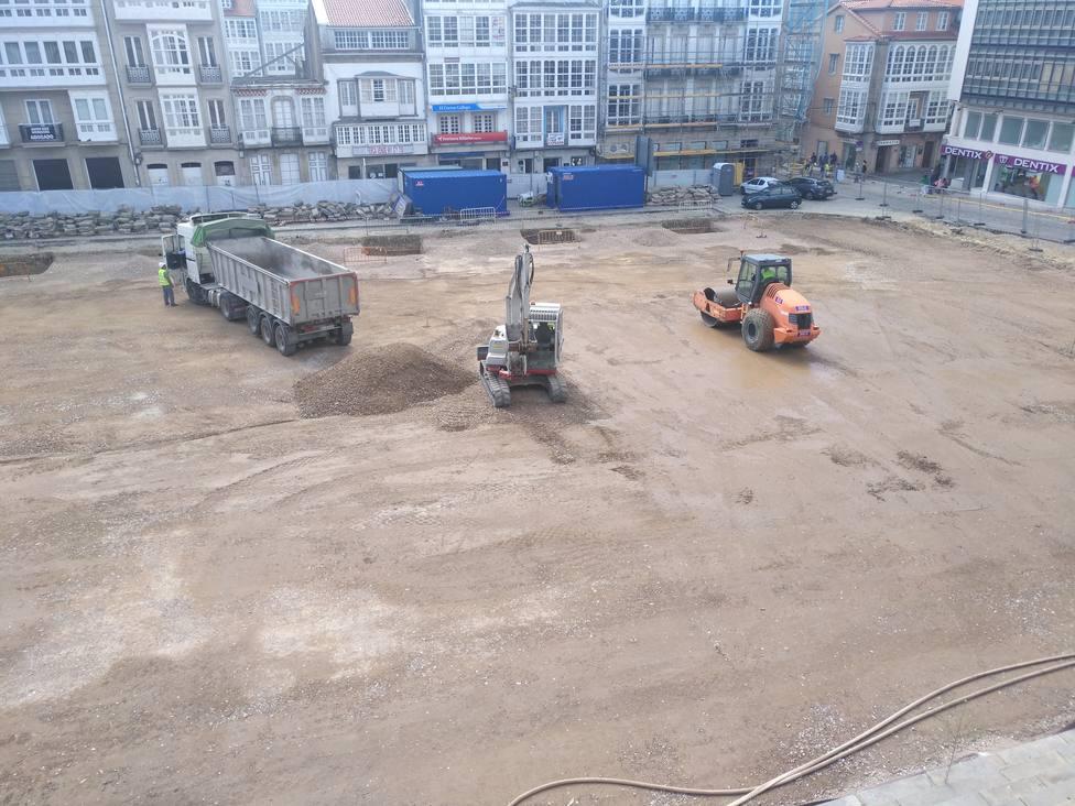 Estado de las obras en la plaza de Armas este miércoles