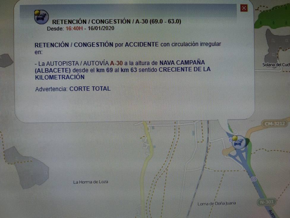 Cortada al trafico la autovía A-3 a causa de un accidente