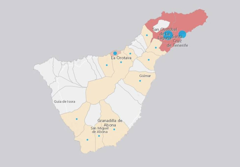 Mapa De Tenerife Municipios.El Coronavirus Regresa A Casi La Mitad De Los Municipios De Tenerife Tenerife Cope
