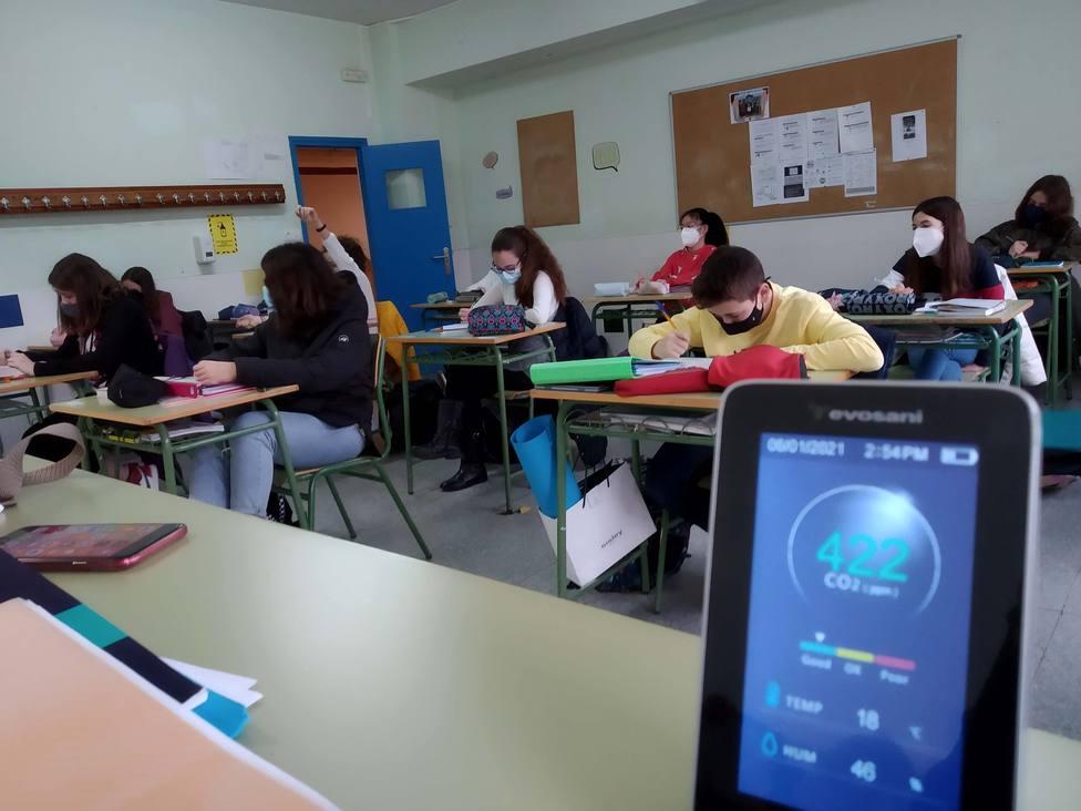 Medidor de CO2 en un aula