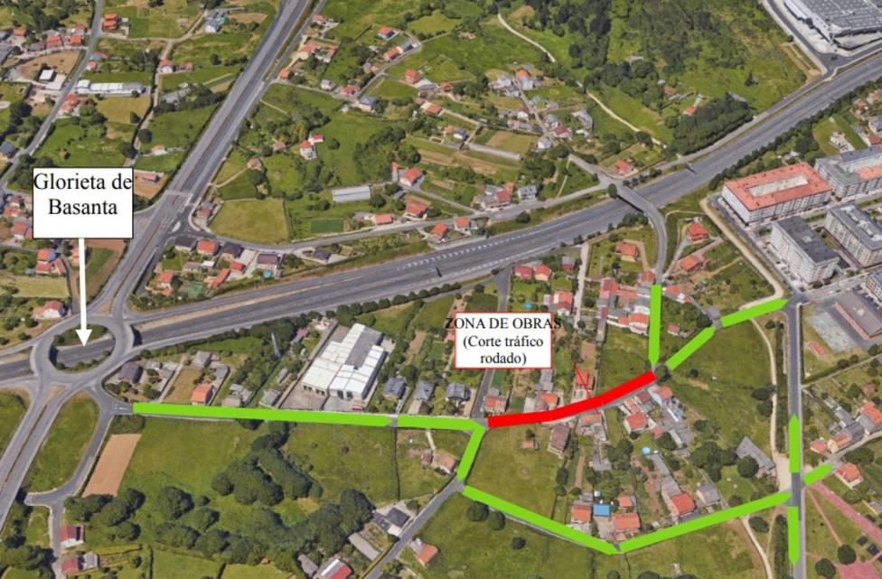 En rojo el tramo cortado al tráfico y en verde, las direcciones autorizadas