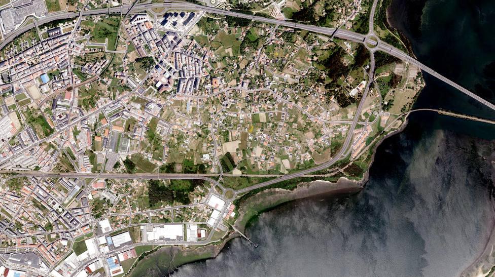 Vista aérea de buena parte de la zona urbana de Narón - FOTO: IXG