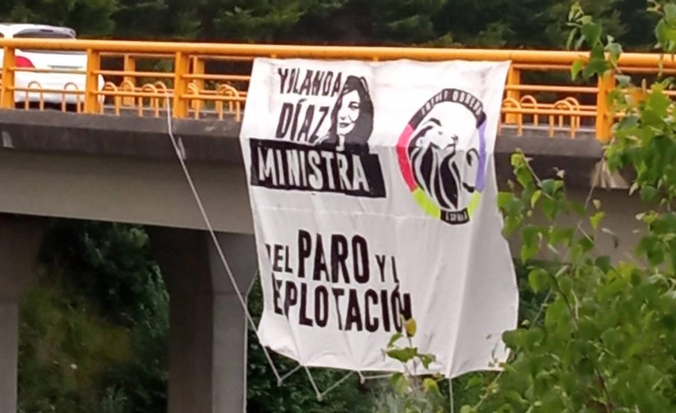 Cartel en el que se puede leer Yolanda Díaz ministra del paro y de la explotación. FOTO: Frente Obrero