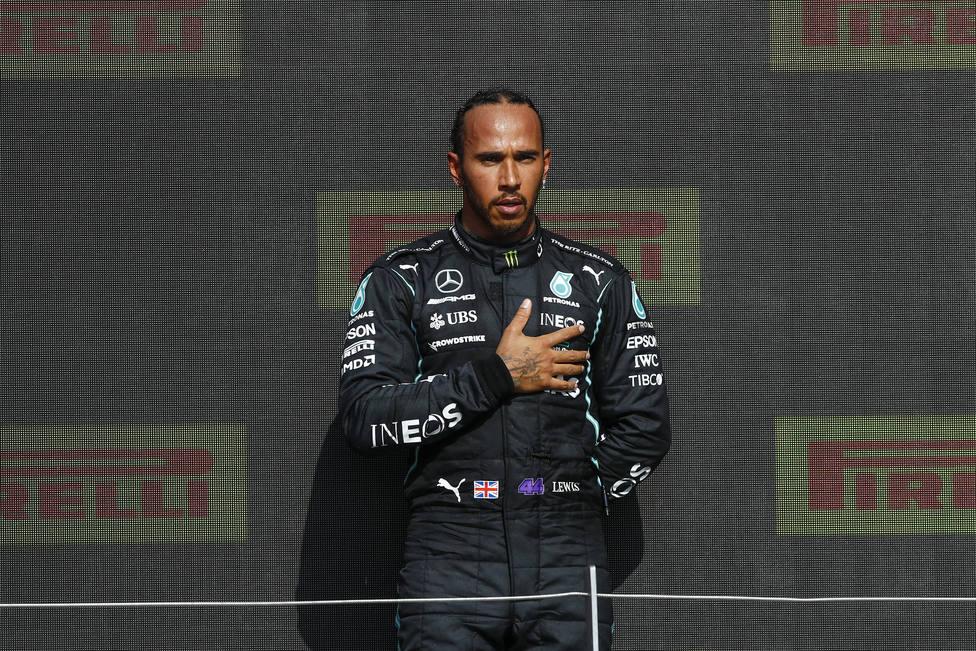 Lewis Hamilton tras ganar en Silverstone.