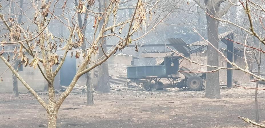 Lugar donde falleció una de las víctimas de los incendios en Carballeda de Avía (Orense)