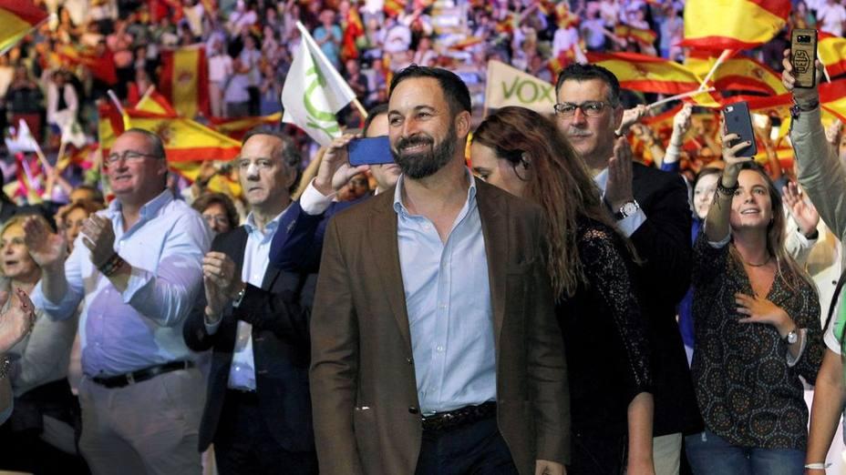 Santiago Abascal en el mitin de Vistalegre