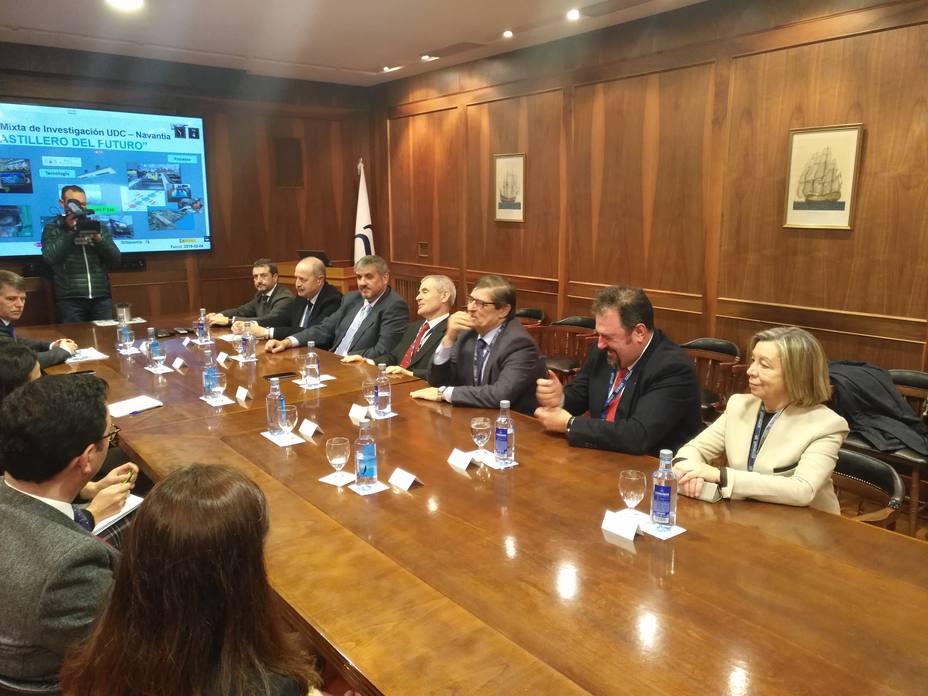 Intergrantes de Universidad de A Coruña y Navantia durante la presentación de conclusiones y retos futuros