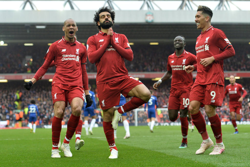 Salah celebra su gol al Chelsea (EFE)