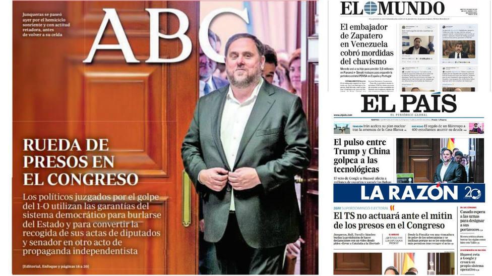 La esperpéntica imagen de los políticos catalanes paseándose por el Congreso, en la prensa nacional
