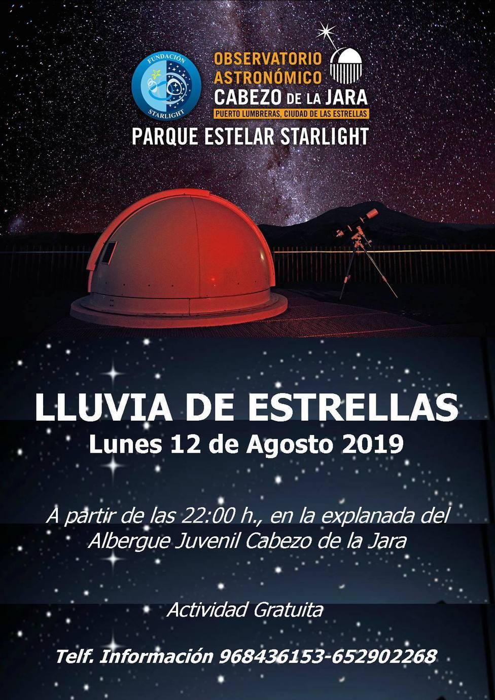 Lumbrerenses y visitantes disfrutarán esta noche de la 'Lluvia de Estrellas' en el Cabezo de la Jara