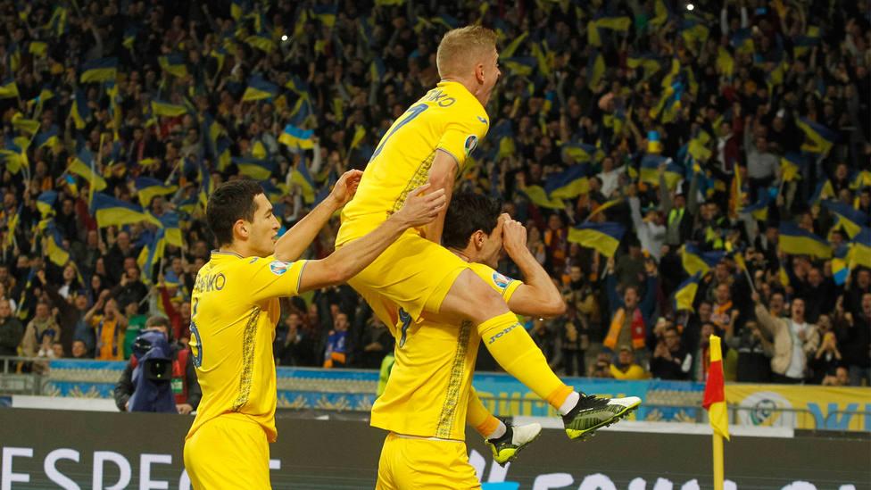 Ucrania celebra el triunfo ante Portugal en la Fase de Clasificación para la Eurocopa 2020. CORDONPRESS