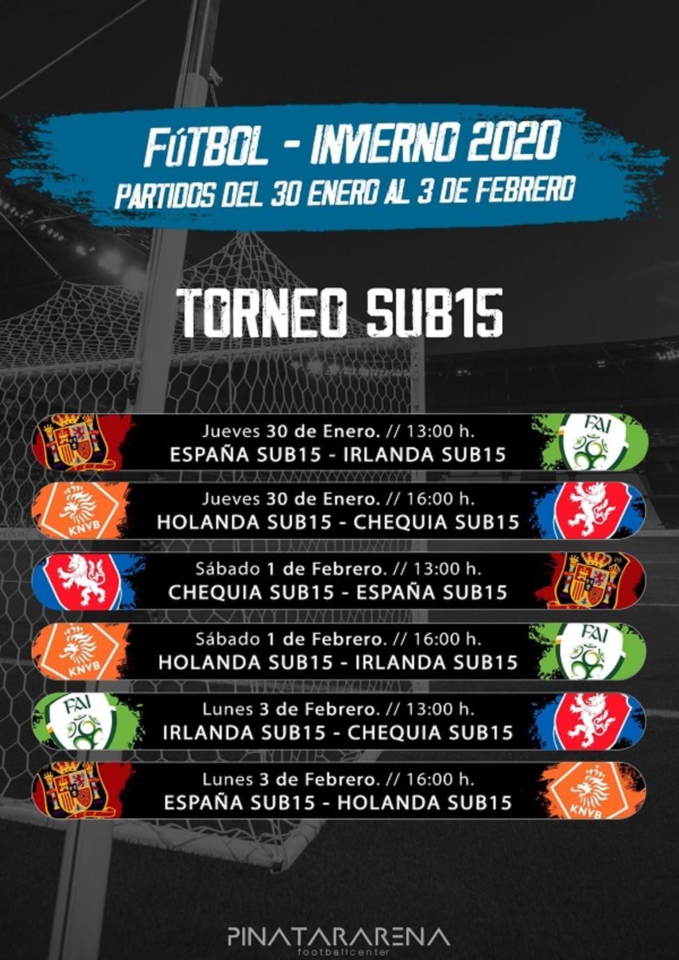 Las selecciones sub15 de España, Chequia, Holanda y República de Irlanda jugarán el Torneo de Pinatar Arena