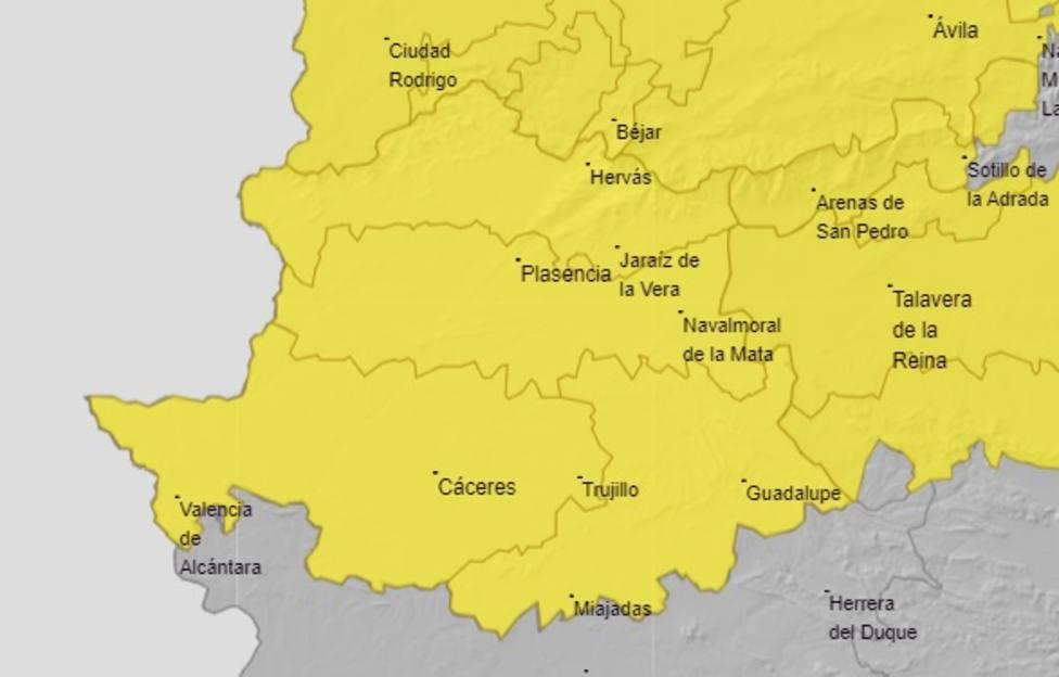 Mapa de alertas en la provincia de Cáceres de este viernes, 9 de abril