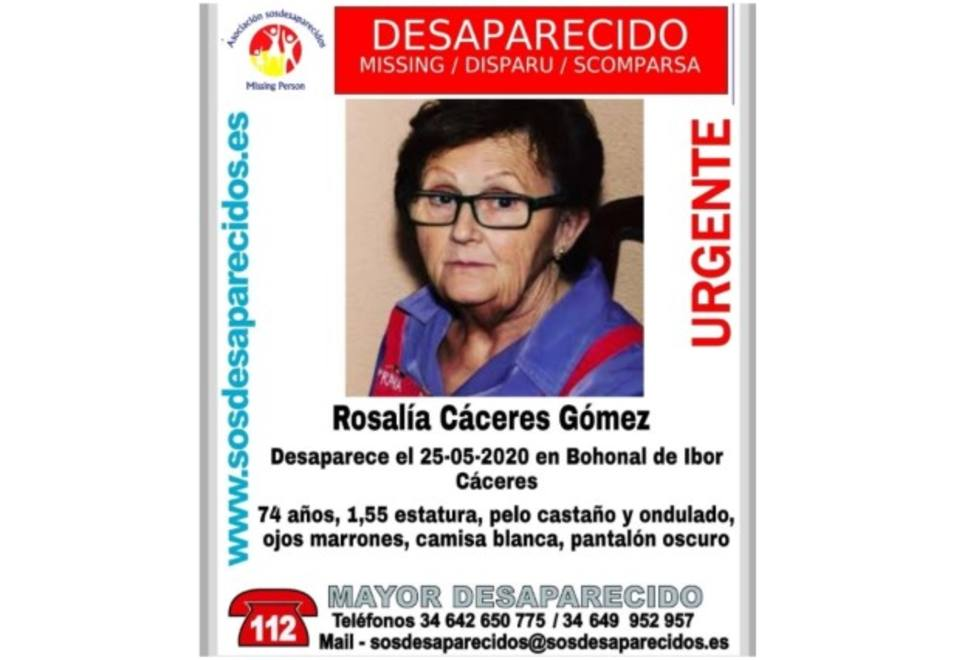 Cartel desaparecida. SOS Desaparecidos