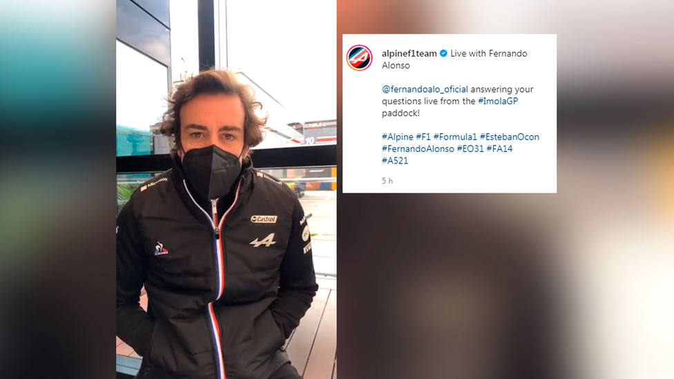 Fernando Alonso, durante el Instagram Live de su escudería Alpine F1