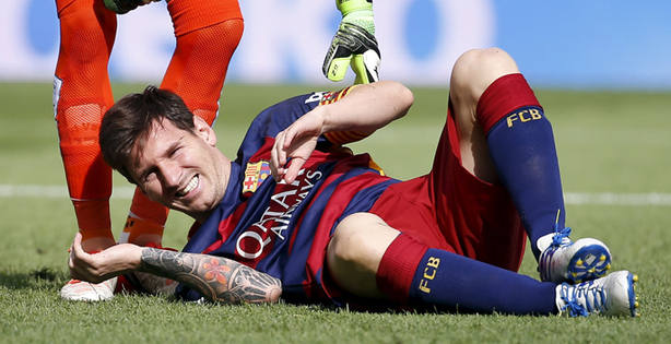 Leo Messi el pasado 26 de septiembre cuando se lesionó ante Las Palmas (Reuters)