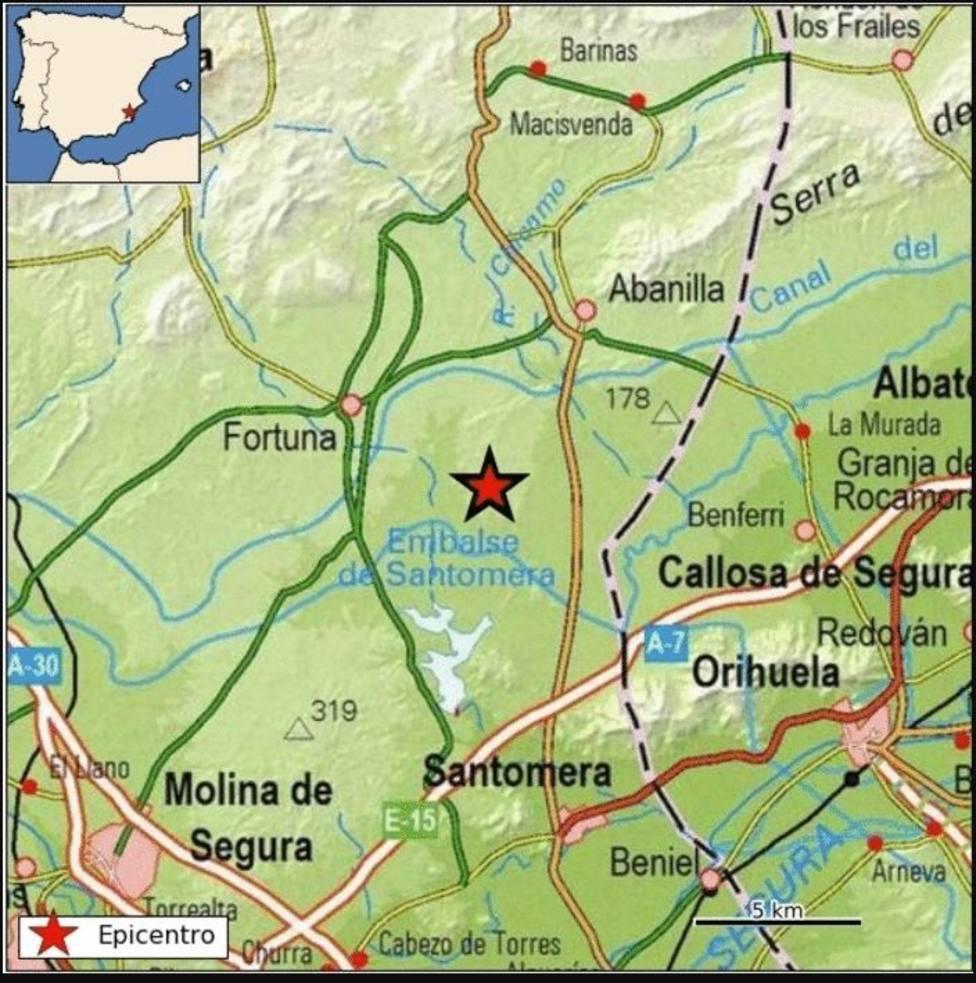 Registrado un seísmo de magnitud 2,8 con epicentro en Fortuna (Murcia)