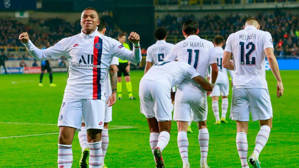 Mbappé fue suplente ante el Brujas y anotó tres goles. EFE